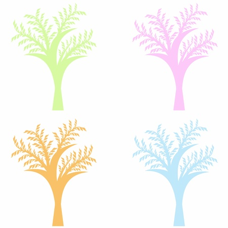 Colorful art trees collection isolated on white background Stock Vector - 10319626