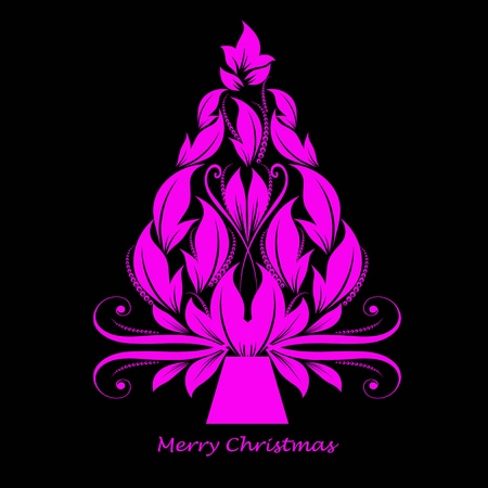 Beautiful abstract christmas tree isolated on black background Illustration