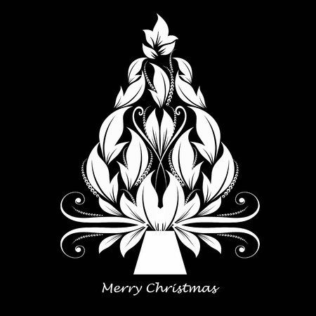 black and white line drawing: Beautiful abstract christmas tree isolated on black background Illustration