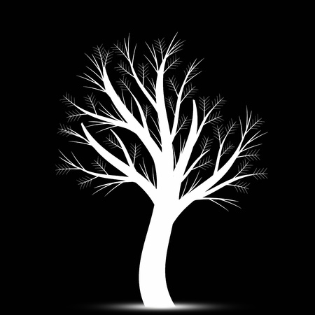 growing tree: Beautiful art tree isolated on black background Illustration