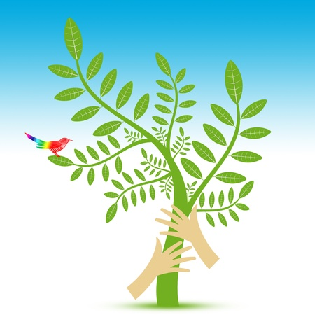new plant: Abstract background of Environmental concept with floral,bird and hand   Illustration
