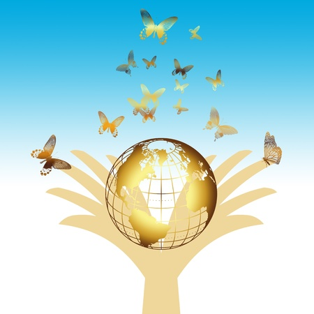 environmental concept with golden earth and butterfly Vector
