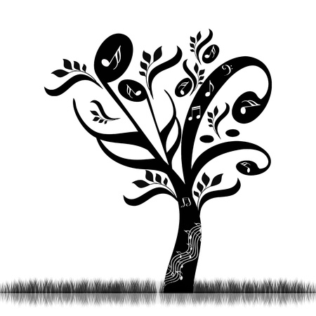 Abstract art tree with music notes  Vector