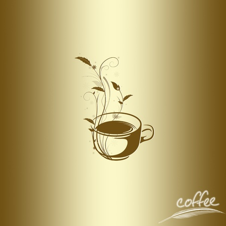 cafe latte: Abstract coffee concept with floral design Illustration
