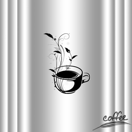 pause icon: Abstract coffee concept with floral design Illustration