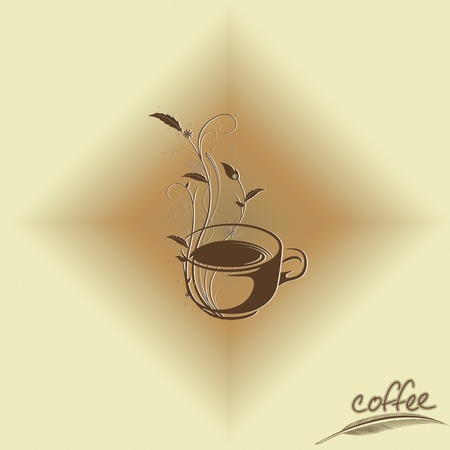 Abstract coffee concept with floral design Illustration