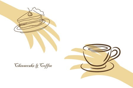 Abstract coffee concept with hands and cheesecake Vector
