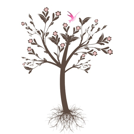 Beautiful art tree with roots isolated on white background Vector