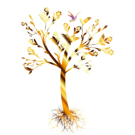Colorful art tree with roots isolated on white background Vector