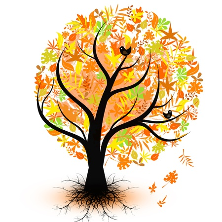 Colorful autumn tree isolated on white background Vector