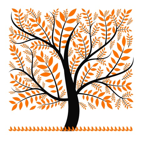 Abstract autumn tree isolated on white background Vector
