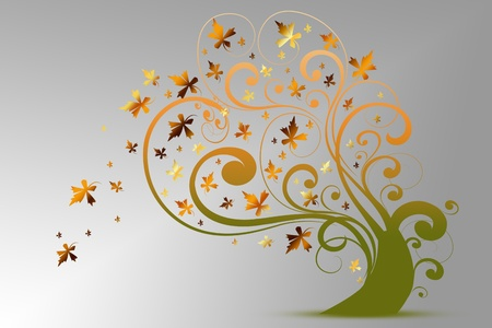Colorful autumn tree isolated on gray background Stock Vector - 10439950