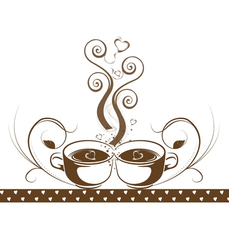 Abstract coffee concept with floral and hearts pattern Vector