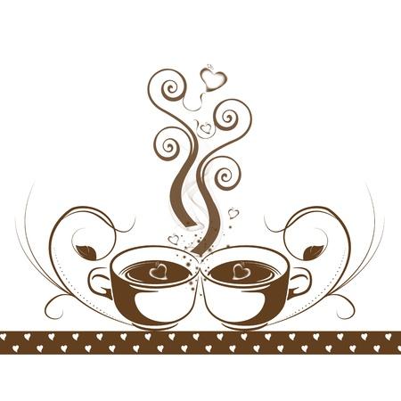 pausa: Concepto abstracto caf� con flores y corazones patr�n