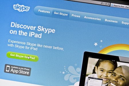 Ostersund, Sweden - August 7, 2011: Close up of Skypes main page on a web browser Skype is a software application that allows users to make voice and video calls and chats over the Internet