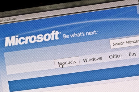 Ostersund, Sweden - August 14, 2011: Close up of Microsoft main page on a computer screen. Editorial