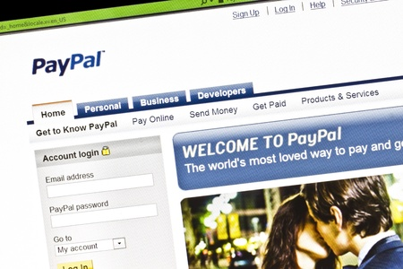 Close up of paypals main page on a computer screen.