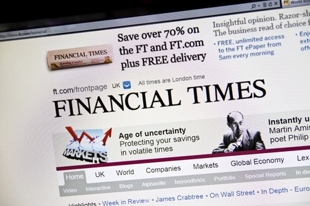 The Financial Times Website on computer screen Stock Photo - 10466321