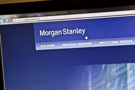 Morgan Stanley bank website on computere screen