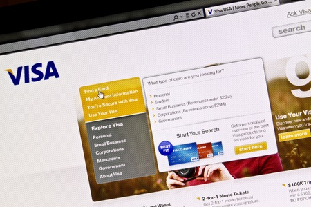 Visa website on computer screen Stock Photo - 10466322