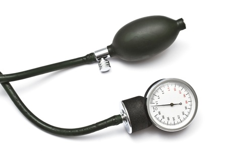 blood pressure bulb: Old sphygmomanometer closeup on white background