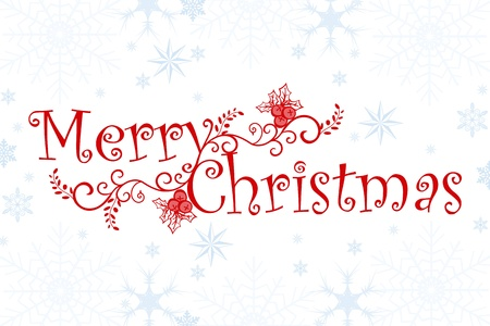 script writing: Merry Christmas background of snowflakes and floral