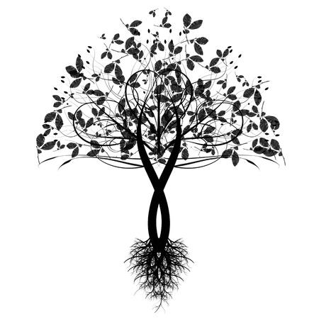autumn fashion: Beautiful art tree isolated on white background Illustration
