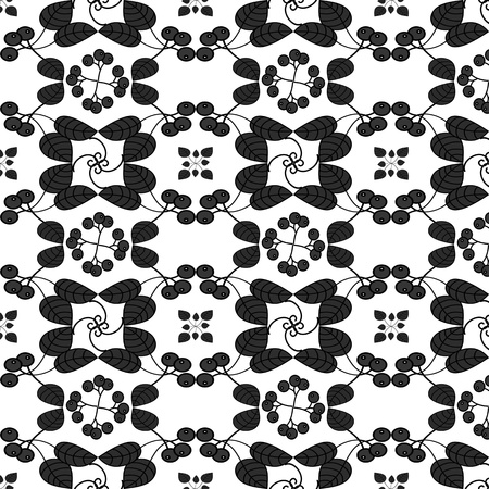 Seamless floral pattern with leaves and fruits Vector