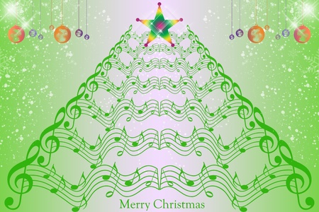 Christmas decoration background with music notes and snowflakes Vector