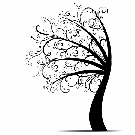 bark palm tree: Beautiful art tree isolated on white background Illustration