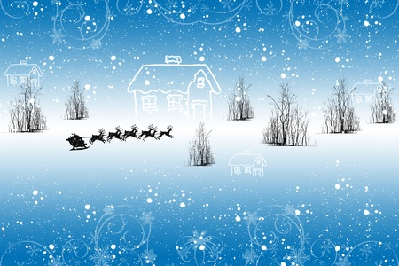 Beautiful winter landscape with snowflakes and trees Vector
