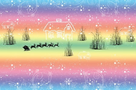 Colorful winter landscape with snowflakes and trees Stock Vector - 10627179