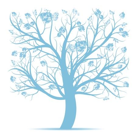 boom wortels: Mooie kunst boom op een witte achtergrond Stock Illustratie