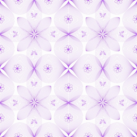 purple butterfly: Abstract background of seamless floral and butterfly pattern Illustration