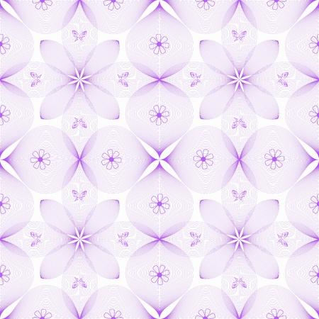 flor morada: Fondo abstracto de patr�n floral y mariposa transparente