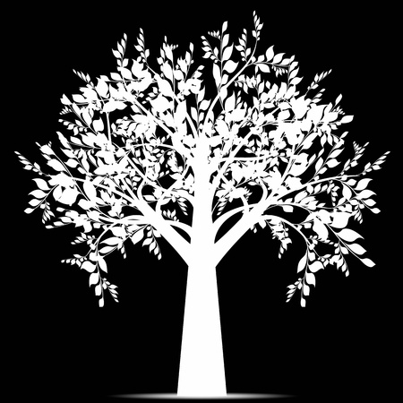 flower silhouette: Beautiful art tree isolated on black background Illustration