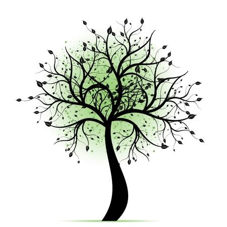 Beautiful art tree isolated on white background Illustration