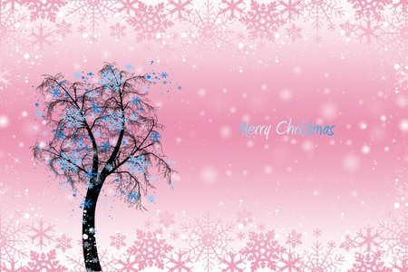 Beautiful christmas decoration with floral and snowflakes   Vector