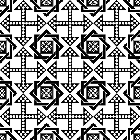 Seamless pattern of  beautiful floral and dots pattern Vector