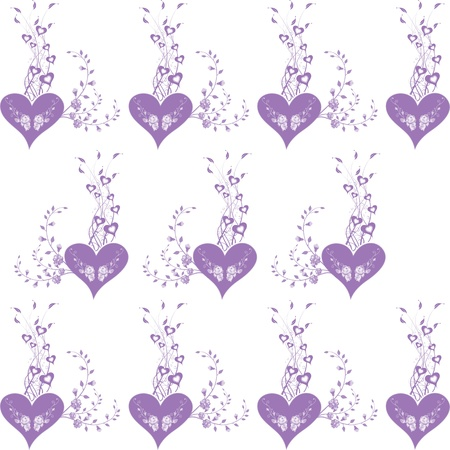 purple dress: Background of seamless floral and heart pattern Illustration