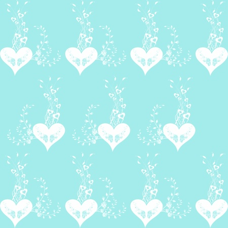 Background of seamless floral and heart pattern Vector