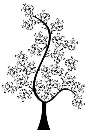 arboles blanco y negro: �rbol hermoso arte aisladas sobre fondo blanco