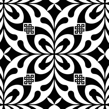 black stripes: Abstract background of beautiful seamless floral pattern