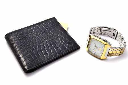 ccloseup: Black wallet and watch isolated on white background