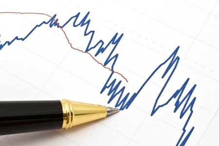 growth in economy: Background of business graph and a pen   Stock Photo