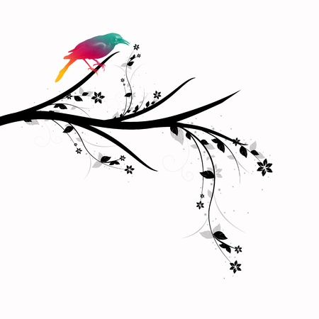 Beautiful bird standing on floral branch closeup Stock Vector - 11028514