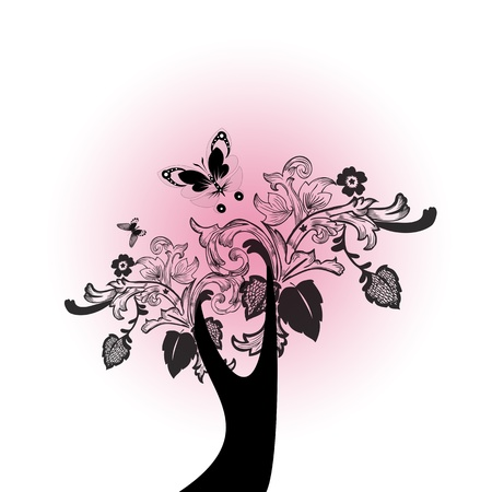 Abstract retro flowers and butterfly Vector