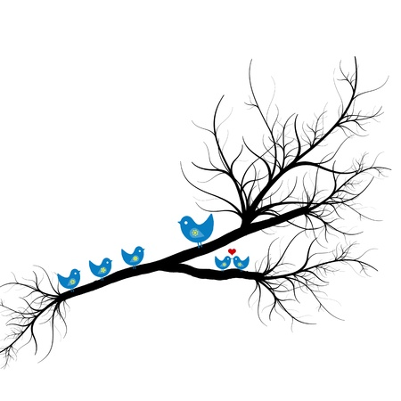 Beautiful silhouette of birds on branch  Vector