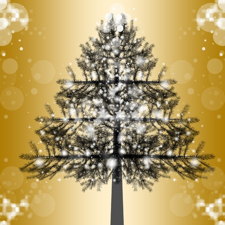 Beautiful christmas tree with snowflakes and lights Vector