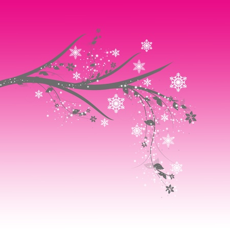Beautiful winter tree with snowflakes on blue background Vector